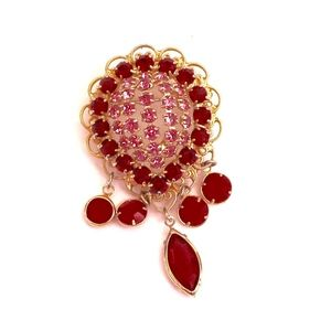 """Jewelry - Vintage Rhinestone 2"""" Brooch / Pin Red Pink Gold"""